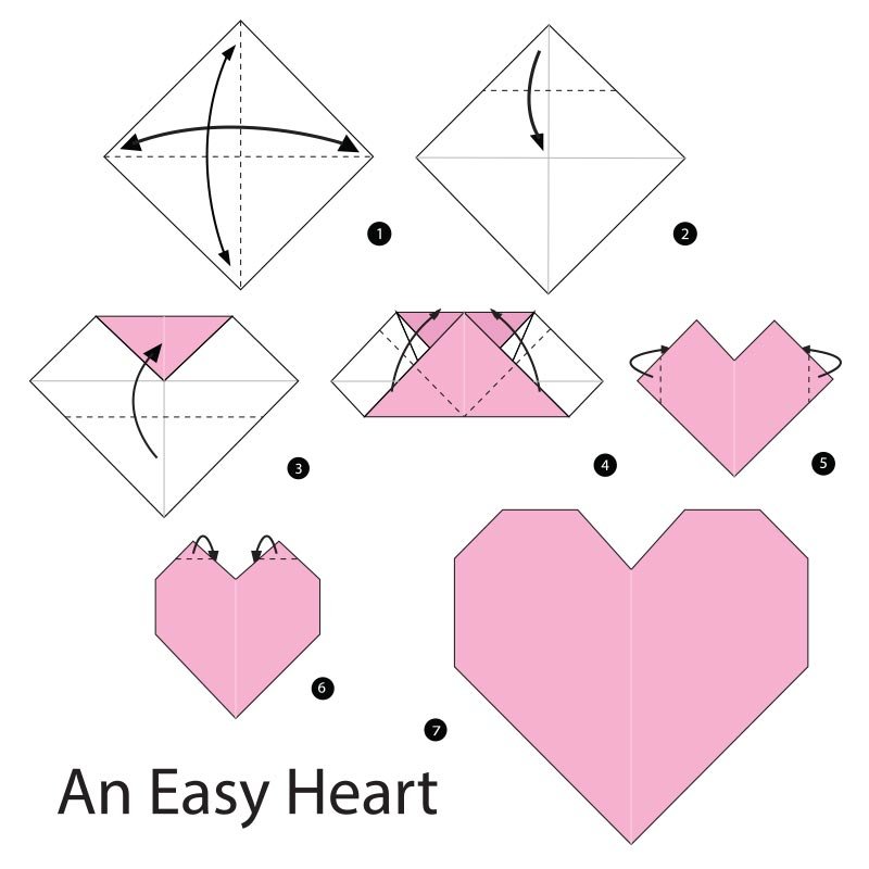 Easy Instructions to Fold an Origami Red Paper Heart | 800x800
